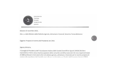 Lettera alla Ministra Bellanova su Nomina Presidente CREA
